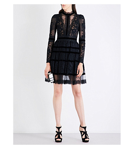 ELIE SAAB Tiered floral lace-panel dress (Black