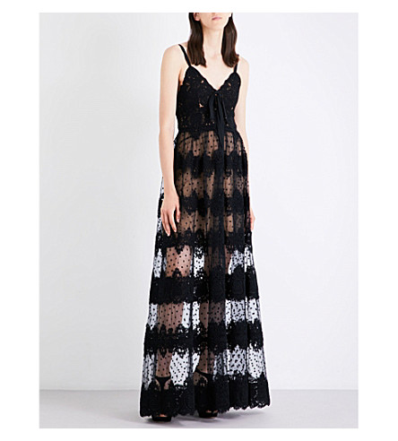 ELIE SAAB Floral lace-embroidered gown (Black