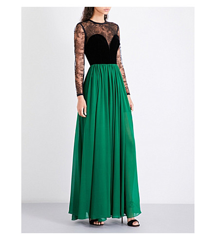 ELIE SAAB Floral-lace, velvet and crepe gown (Billiards/black