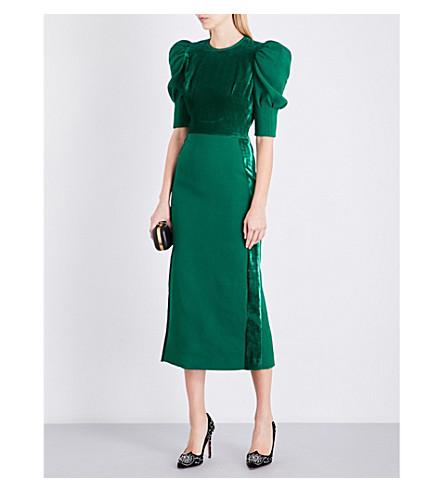 ELIE SAAB Juliet velvet-panel crepe dress (Billiard