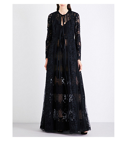 ELIE SAAB Floral lace-panel gown (Black