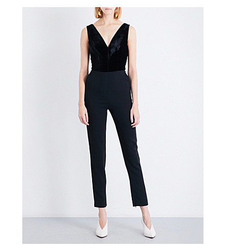 ELIE SAAB V-neck velvet and crepe jumpsuit (Black