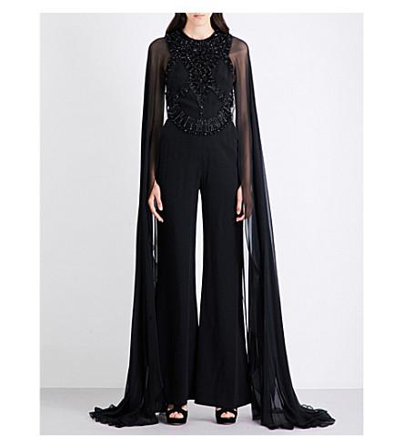 ELIE SAAB Embellished crepe and chiffon jumpsuit (Black
