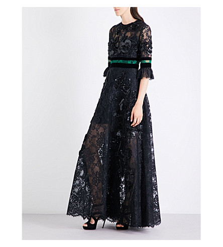 ELIE SAAB Embellished floral-lace gown (Billiards/black