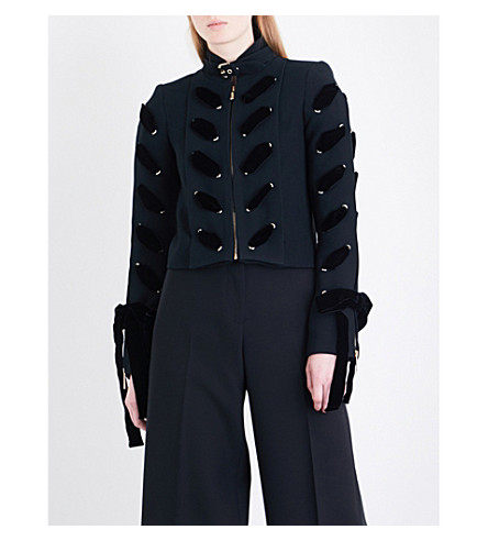 ELIE SAAB Ollie lace-up crepe jacket (Black
