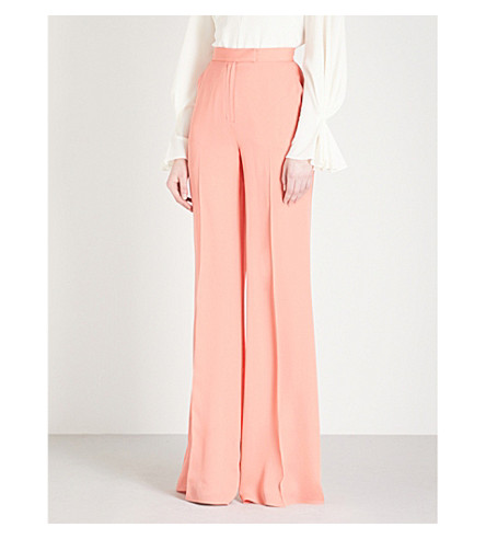 ELIE SAAB Flared high-rise silk-crepe trousers (Sunset