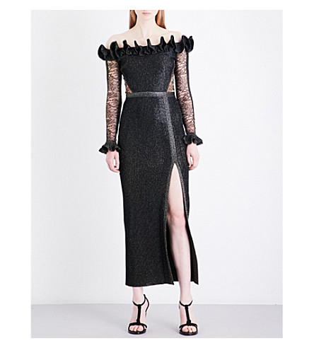 ELIE SAAB Ruffled off-the-shoulder metallic ribbed-knit and floral-lace midi dress (Black