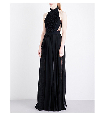 ELIE SAAB Ruffled chiffon and floral-lace gown (Black