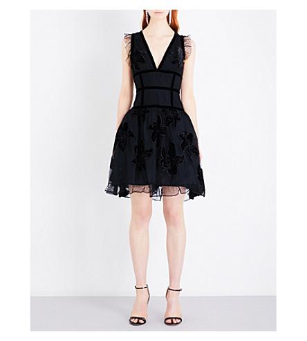ELIE SAAB Floral-appliquéd velvet and tulle dress (Black