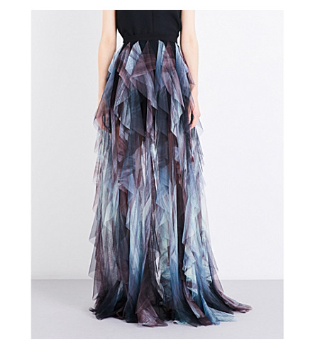 ELIE SAAB Tie-dye ruffled high-rise tulle skirt (Print