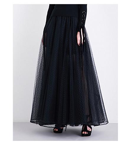 ELIE SAAB Dotted tulle maxi skirt (Black