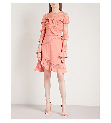 ELIE SAAB Ruffled crepe and lace dress (Sunset