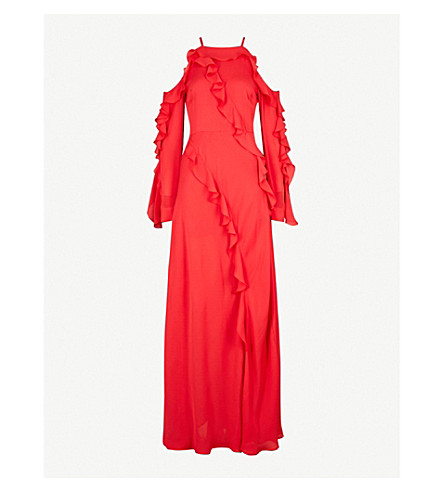 ELIE SAAB Ruffled silk-chiffon maxi dress (Reef