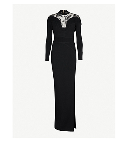 ELIE SAAB Lace-panel stretch-knit maxi dress (Black