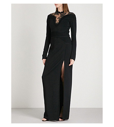 ELIE SAAB Lace-panel stretch-knit maxi dress (Black