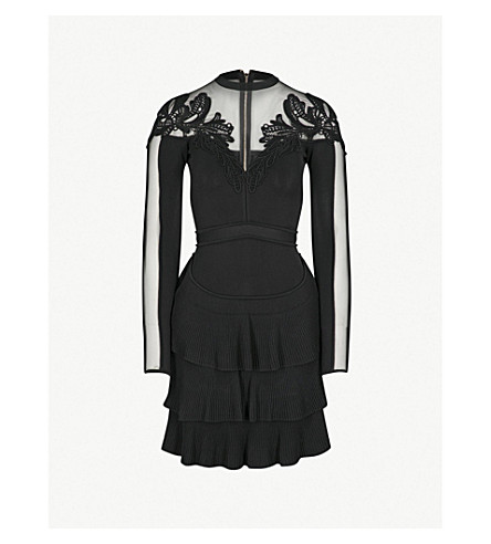 ELIE SAAB Floral-embroidered knitted mini dress (Black