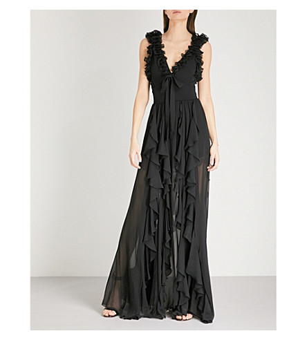 ELIE SAAB Ruffled silk-blend gown (Black