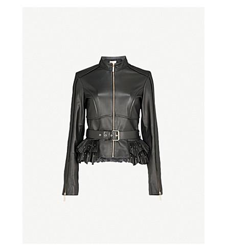 ELIE SAAB Pleated peplum-hem leather jacket (Black