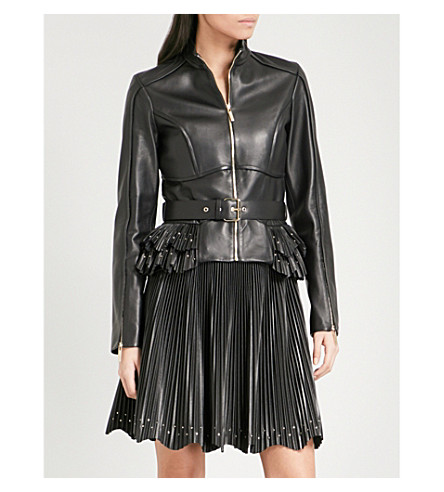 ELIE SAAB Pleated peplum-hem leather jacket (Black