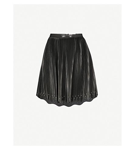 ELIE SAAB Pleated high-rise leather skirt (Black