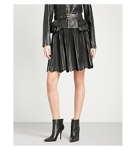 ELIE SAAB Pleated high-rise leather skirt (Black