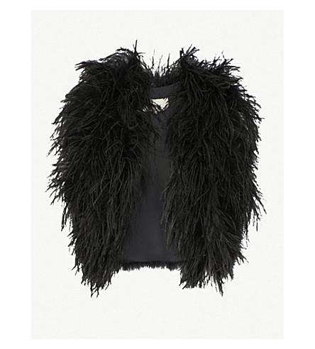 ELIE SAAB Sleeveless feather jacket (Black