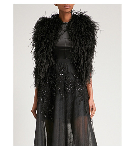 ELIE SAAB Sleeveless feather jacket (Black