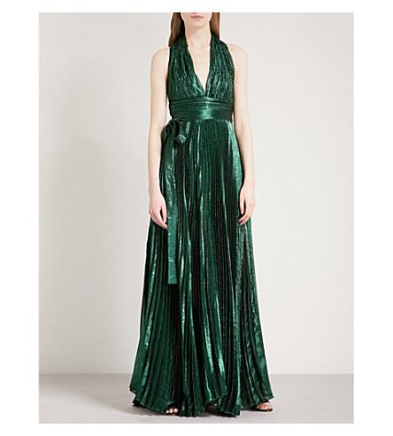 ELIE SAAB Pleated metallic silk-blend maxi dress (Seaweed