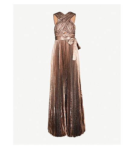 ELIE SAAB Metallic pleated silk-blend maxi dress (Sunset