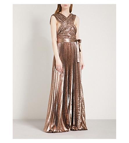 ELIE SAAB Metallic pleated silk-blend maxi dress (Sunset