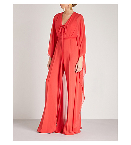 ELIE SAAB V-neck silk-blend jumpsuit (Reef