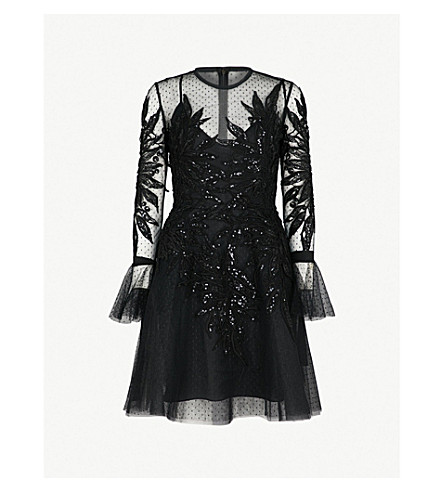 ELIE SAAB Sequin-embellished fit-and-flare tulle mini dress (Black