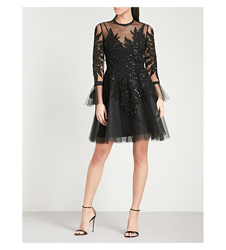 ELIE SAAB Sequin-embellished fit-and-flare tulle mini dress (Black