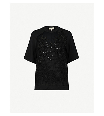 ELIE SAAB Floral embroidered and sequinned tulle and cotton-blend top (Black