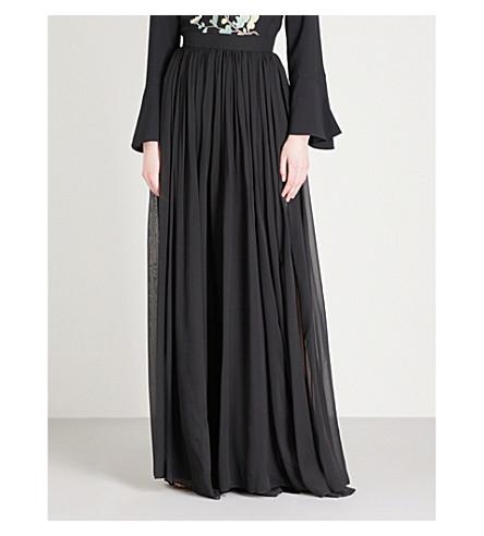 ELIE SAAB Pleated silk maxi skirt (Black