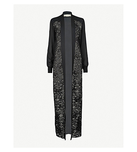 ELIE SAAB Floral-lace silk-blend coat (Black