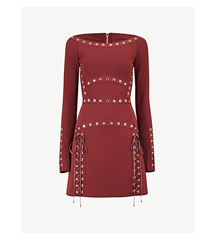 ELIE SAAB Eyelet-embellished stretch-jersey dress (Burgundy