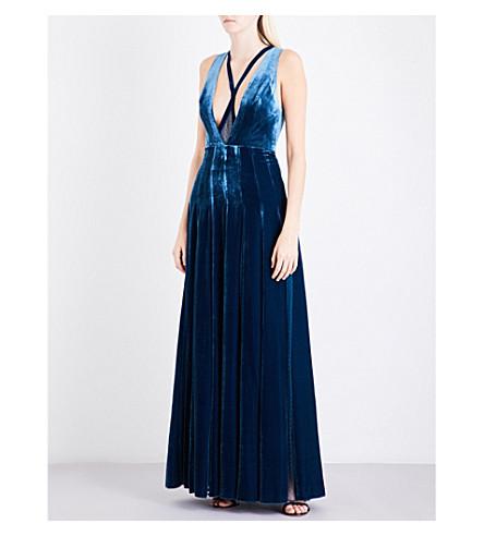 ELIE SAAB Mesh-insert velvet gown (Teal