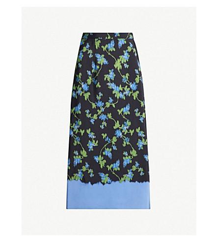 ALTUZARRA Felice floral-print silk-crepe de chine midi skirt (Black