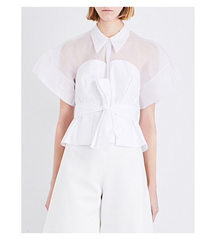 DELPOZO Silk-georgette cotton top (Optical white