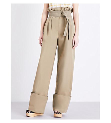 ROSIE ASSOULIN High-rise cotton and silk-blend trousers (Fatigue