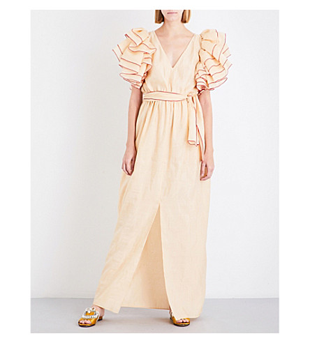 ROSIE ASSOULIN Ruffle-sleeved silk-blend maxi dress (Peach(w+red+edging