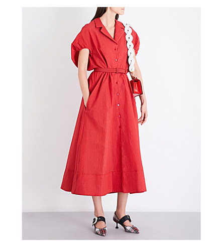 ROSIE ASSOULIN Have The Wind At Your Back cloqué shirt dress (Aurora+red