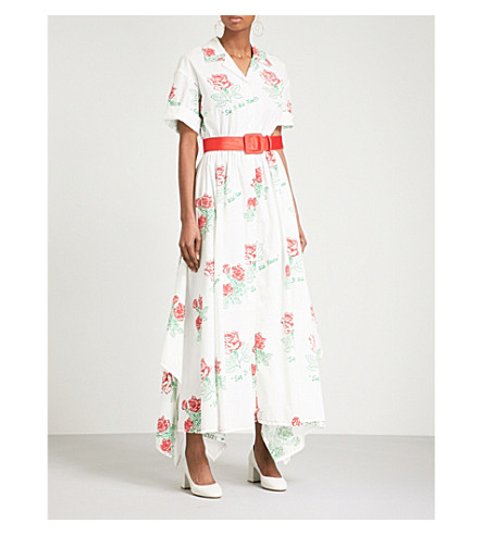 ROSIE ASSOULIN Rose-print belted cotton-blend dress (Red+roses