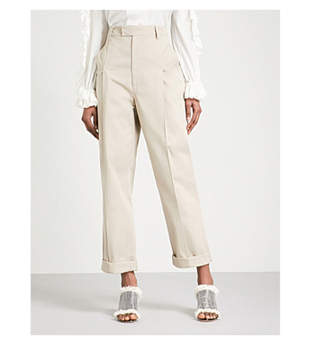 ROSIE ASSOULIN Wide-leg high-rise cotton trousers (Khaki