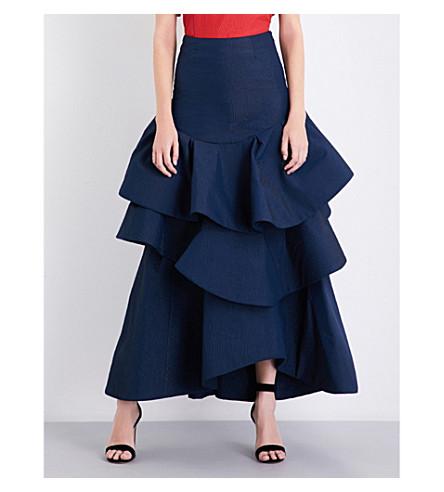 ROSIE ASSOULIN Ruffled high-rise cloqué maxi skirt (Navy