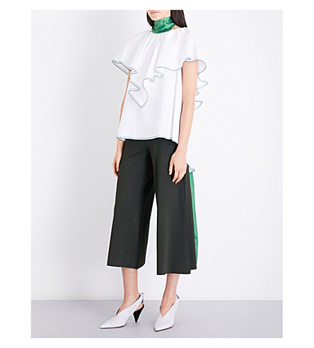 ROSIE ASSOULIN Envelope ruffled cotton top (White