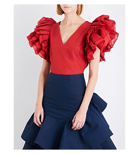 ROSIE ASSOULIN Ruffled cloqué top (Aurora+red
