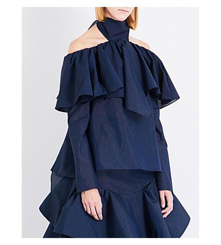 ROSIE ASSOULIN Napkin ruffled cotton-blend top (Navy