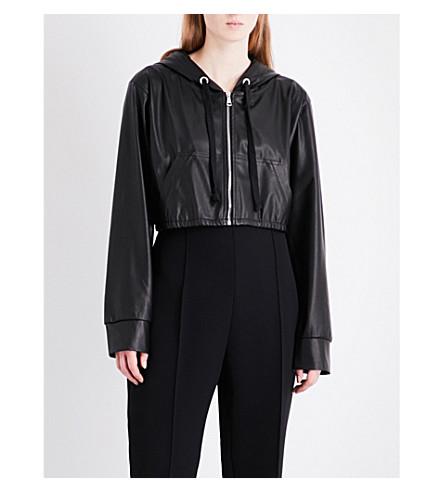 NATASHA ZINKO Cropped faux-leather jacket (Black